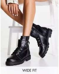 ASOS Wide Fit Aria Lace Up Hardware Boots - Black