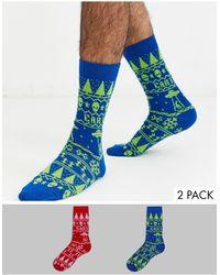 ASOS – Socken mit Weihnachts-Alien-Print im 2er-Set, Special Offer - Blau