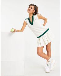 adidas Originals 'tennis Luxe' Logo V Neck Pleated Dress - White