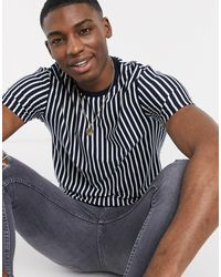 TOPMAN T-shirt With Vertical Stripe - Blue