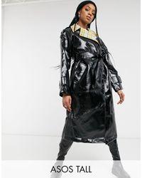 ASOS Asos Design Tall Check Bonded Vinyl Trench Coat - Black