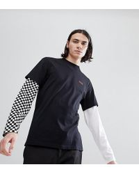 Vans - Double Layer T-shirt With Contrast Sleeves In Black Exclusive To Asos - Lyst