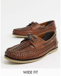 ASOS Wide Fit Woven Boat Shoes - Brown