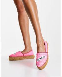 Love Moschino Розовые Блестящие Эспадрильи С Логотипом -розовый Цвет