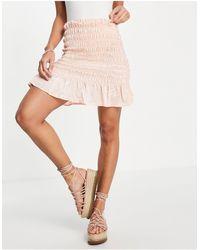 Lola May Shirred Mini Skirt With Flippy Hem - Pink