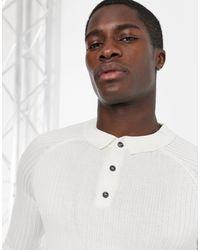 New Look Ribbed Muscle Fit Long Sleeve Polo - White
