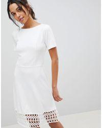7030788b22b2 Y.A.S Crochet Hem Dress in Black - Lyst