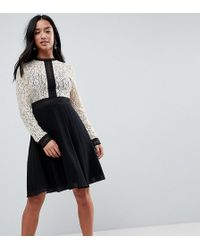 Little Mistress All Over Lace Top Dress With Prom Skater Skirt - Black