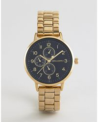 ASOS Skinny Bracelet Watch With Sub Dials - Metallic