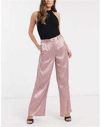 UNIQUE21 Satin Wide Leg Trousrs - Pink