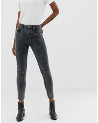 ASOS Super High Waisted Firm Skinny Jeans - Gray
