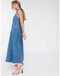 Warehouse Sleeveless Denim Midi Dress - Blue
