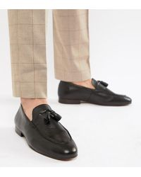 b9c2dae5dbd H by Hudson Wide Fit Bolton Tassel Loafers In Wine Leather in Red ...