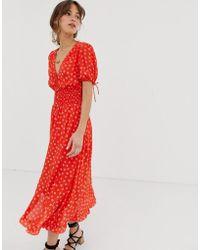 Cleobella Olivia Printed Midi Dress - Red