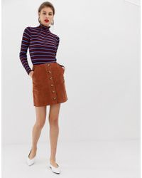 Warehouse - A-line Cord Skirt With Button Through In Rust - Lyst