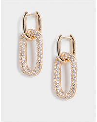 French Connection Oval Earrings With Stones - Metallic