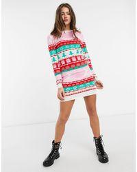 Brave Soul - Платье-джемпер С Северным Орнаментом Christmas-белый - Lyst