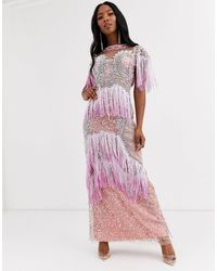 A Star Is Born Fringe Embellished Maxi Dress With Sheer Panels-multi - Pink