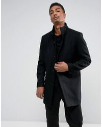 SELECTED - Funnel Neck Wool Mix Overcoat - Lyst