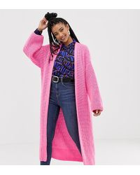Collusion Longline Cardigan In Pink