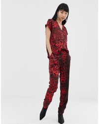 B.Young Leopard Print Jumpsuit - Red