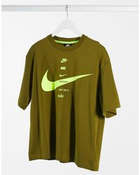 Nike Футболка Мужского Фасона Цвета Зеленый Хаки С Логотипом-галочкой