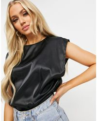 Missguided Satin Top With Shoulder Pads - Black