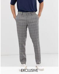 Noak Pantaloni slim grigi a quadri - Grigio