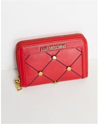 Love Moschino Porte-monnaie avec clous - Rouge