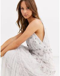 Needle & Thread Robe longue ornementée à décolleté profond - Gris