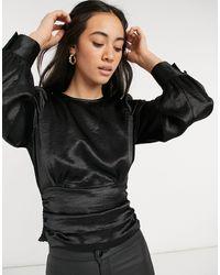 Vero Moda Satin Blouse With V Back - Black