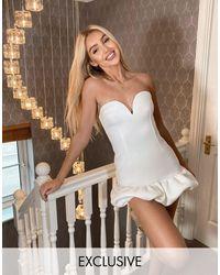 True Violet Vestido corto color marfil con escote - Blanco