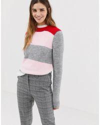 Jack Wills Colour Block Crew Neck Knit - Pink