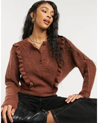 ASOS Jumper With Frill And Button Placket Detail - Brown