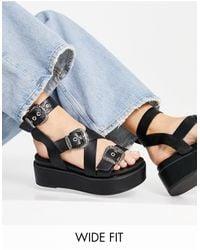 ASOS Wide Fit Toby Chunky Flatform Sandals - Black