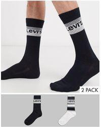 Levi's Levis - Set Van 2 Paar Gestreepte Sokken - Zwart