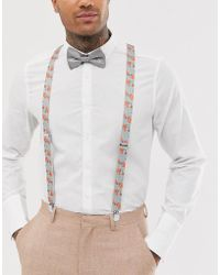 ASOS Suspenders And Bow Tie Set In Grey Floral And Plain - Gray