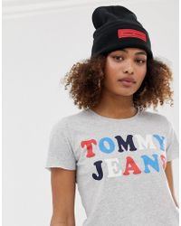 Tommy Hilfiger Bonnet avec étiquette à logo - Noir