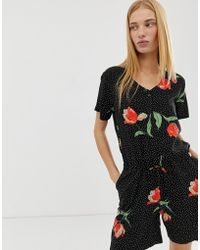 B.Young Floral Playsuit - Black