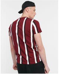 Hollister Central Logo Vertical Stripe T-shirt - Red