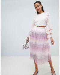 Chi Chi London - Tiered Midi Skirt - Lyst
