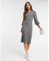 Y.A.S Knitted Midi Dress With High Neck - Grey
