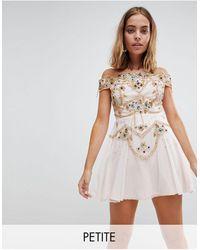 Frock and Frill Premium Embellished Bardot Bodice Mini Skater Dress - Natural
