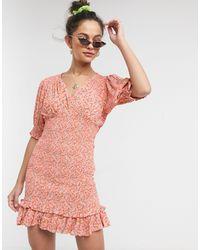 Faithfull The Brand Faithfull - Margherita - Vestito corto arricciato rosa a maniche corte a fiori