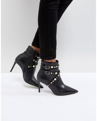 Carvela Kurt Geiger - Granite Pearl Buckle Leather Heeled Ankle Boots - Lyst