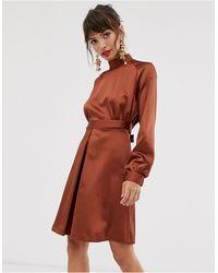 Closet Wardrobe High Neck Satin Mini Dress - Brown