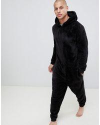 ASOS Hooded Onesie In Fluffy Black Fabric - Gray