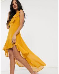 TFNC London Платье Миди С Оборками И Асимметричным Краем -желтый