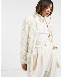 Vero Moda Textured Faux Fur Jacket - Multicolor