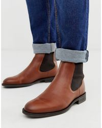 SELECTED Leather Chelsea Boots - Brown